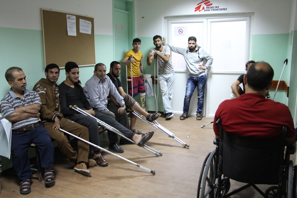 Waiting area of MSF outpatient department in Al Awda clinic, Gaza. © Yuna Cho / MSF