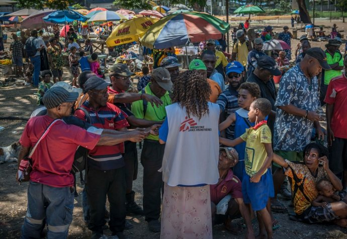 Community awareness in Port Moresby market