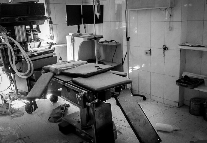 Damage in al Daqaq hospital