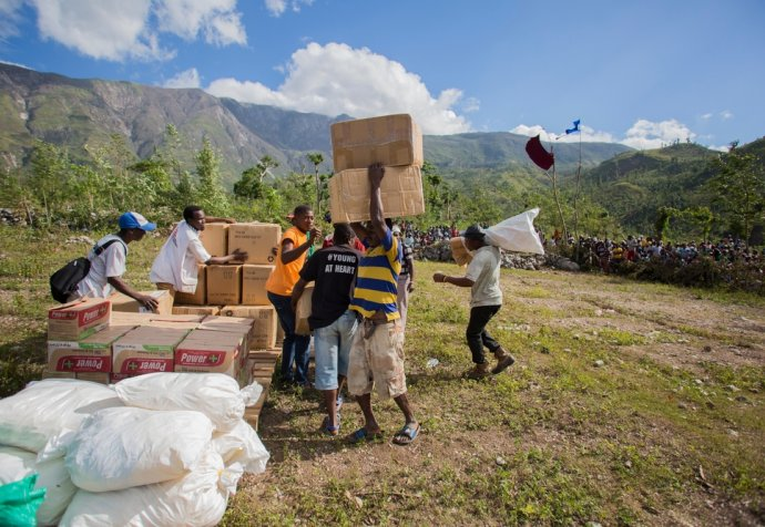 Aid Drops In Remote Areas Of Haiti