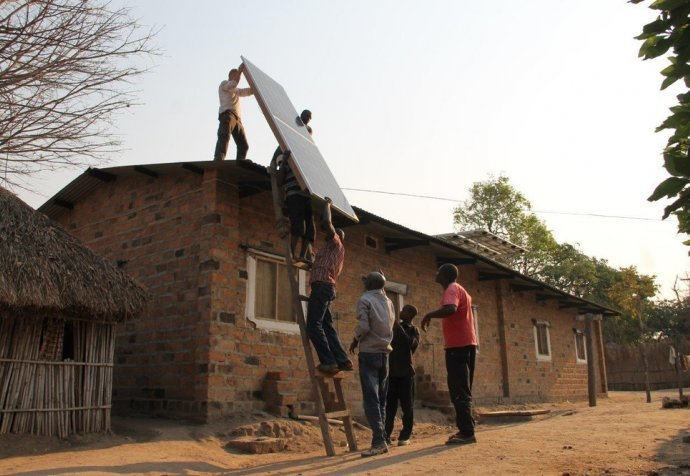 Solar panels on roof Shamwana hospital Congo DRC